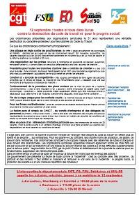 Lien vers le tract intersyndical FO FSU SUD CGT UNL d'appel à la grève pour le 12 septembre